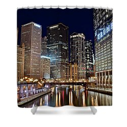 River View Of The Windy City Shower Curtain by Frozen in Time Fine Art Photography