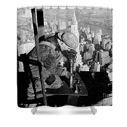 Riveters On The Empire State Building Shower Curtain by LW Hine