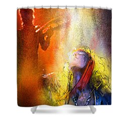 Robert Plant And Jimmy Page 02 Shower Curtain by Miki De Goodaboom