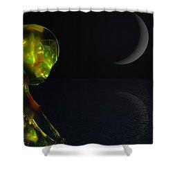 Robot Moonlight Serenade Shower Curtain by David Lane