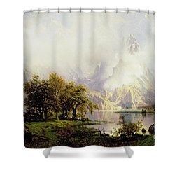 Rocky Mountain Landscape Shower Curtain by Albert Bierstadt