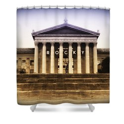 Rocky On The Art Museum Steps Shower Curtain by Bill Cannon