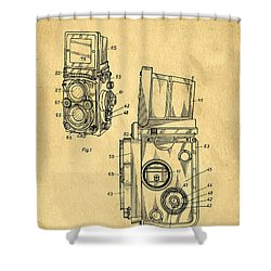 Rolleiflex Medium Format Twin Lens Reflex Tlr Patent Shower Curtain by Edward Fielding