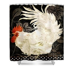 Rooster Damask Dark Shower Curtain by Mindy Sommers