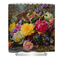 Roses By A Pond On A Grassy Bank  Shower Curtain by Albert Williams
