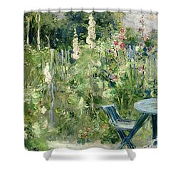 Roses Tremieres Shower Curtain by Berthe Morisot