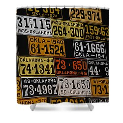 Route 66 Oklahoma Car Tags Shower Curtain by Susanne Van Hulst