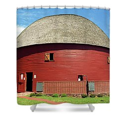 Route 66 - Round Barn Shower Curtain by Frank Romeo