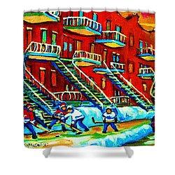 Rowhouses And Hockey Shower Curtain by Carole Spandau