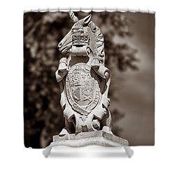 Royal Unicorn - Sepia Shower Curtain by Christopher Holmes