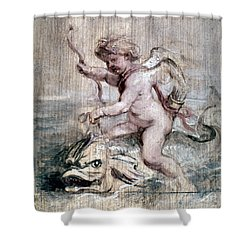 Rubens: Cupid On Dolphin Shower Curtain by Granger