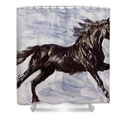 Running Horse Shower Curtain by Richard De Wolfe
