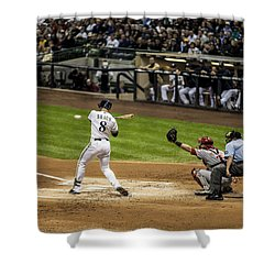 Ryan Braun  Shower Curtain by CJ Schmit