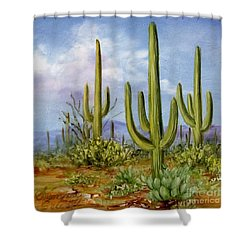 Saguaro Scene 1 Shower Curtain by Summer Celeste