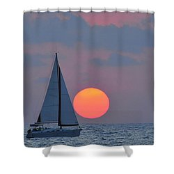 Sailboat At Sunset  Shower Curtain by Shay Levy