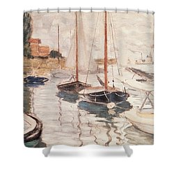 Sailboats On The Seine Shower Curtain by Claude Monet