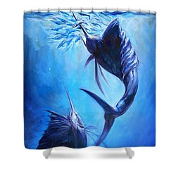 Sailfish And Ballyhoo Shower Curtain by Tom Dauria