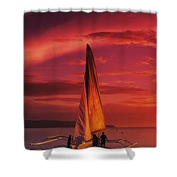 Sailing, Boracay Island Shower Curtain by William Waterfall - Printscapes