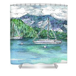 Sailing Lake Tahoe Shower Curtain by Cathie Richardson