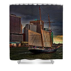 Sailing On The East River Shower Curtain by Chris Lord