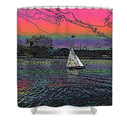 Sailing South Lake Union Shower Curtain by Tim Allen