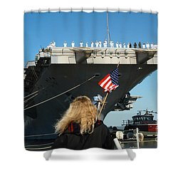 Sailors Aboard Aircraft Carrier Uss Shower Curtain by Stocktrek Images