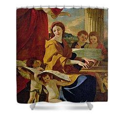 Saint Cecilia Shower Curtain by Nicolas Poussin