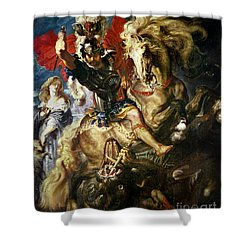 Saint George And The Dragon Shower Curtain by Peter Paul Rubens
