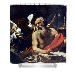 Saint Jerome & The Angel Shower Curtain by Granger