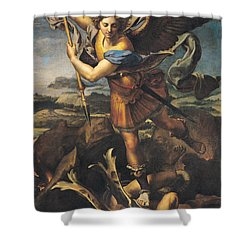 Saint Michael Overwhelming The Demon Shower Curtain by Raphael