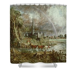 Salisbury Cathedral From The Meadows Shower Curtain by John Constable