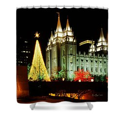 Salt Lake Temple Christmas Tree Shower Curtain by La Rae  Roberts