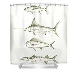 Saltwater Gamefishes Shower Curtain by Juan Bosco