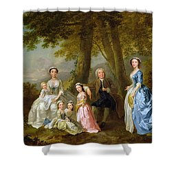 Samuel Richardson Seated With His Family Shower Curtain by Francis Hayman