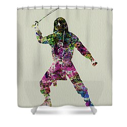 Samurai With A Sword Shower Curtain by Naxart Studio
