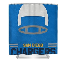 San Diego Chargers Vintage Art Shower Curtain by Joe Hamilton