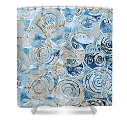 Shower Curtain featuring the painting Sand, Sea And Seashells by Frank Tschakert