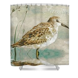 Sandpiper I Shower Curtain by Mindy Sommers