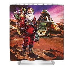 Santa Claus On Mars Shower Curtain by English School