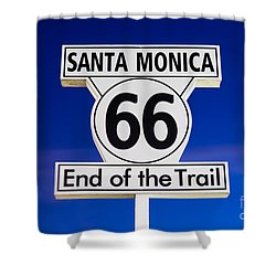 Santa Monica Route 66 Sign Shower Curtain by Paul Velgos