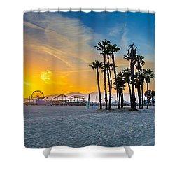 Santa Monica Sunset Shower Curtain by Az Jackson