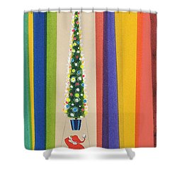Santa's Christmas Tree Shower Curtain by Stanley Cooke