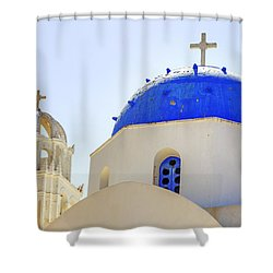 Santorini Shower Curtain by Joana Kruse