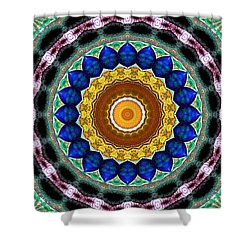 Sapphire Necklace Mandala Shower Curtain by Joy McKenzie