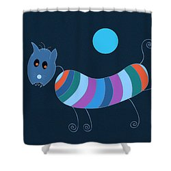 Shower Curtain featuring the painting Sausage Dog In Blue Moon by Frank Tschakert