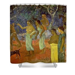 Scene From Tahitian Life Shower Curtain by Paul Gauguin