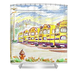 School Bussiness Shower Curtain by Kip DeVore