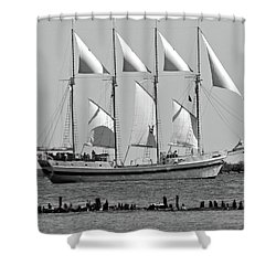 Schooner On Lake Michigan 1-2bw Shower Curtain by Sandy Taylor