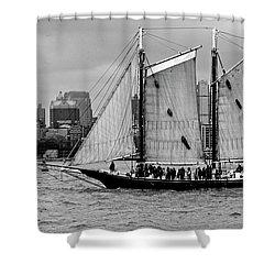 Schooner On New York Harbor No. 1-1 Shower Curtain by Sandy Taylor