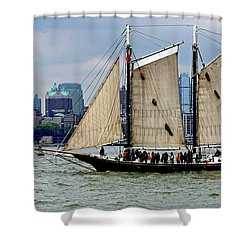 Schooner On New York Harbor 1 Shower Curtain by Sandy Taylor